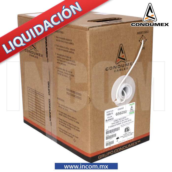 CABLE SECURITY 2 X 22AWG BLANCO (CL2R) INTERIOR (305MTS)