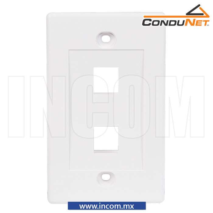 PLACA PARED (FACEPLATE) PLUS 2 PUERTOS BLANCA