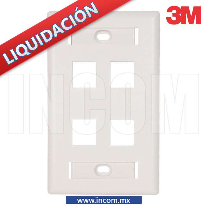 PLACA PARED (FACEPLATE) ESTANDAR 4 PUERTOS BLANCA